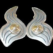 SALE Vintage Sterling & 14K Earrings Modernist Design