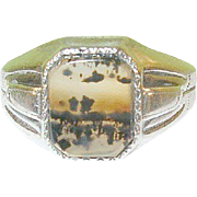 SALE Vintage Sterling & Moss Agate Ring