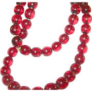 SALE Vintage Cherry Amber Bead Necklace Approx. 36""