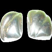 SALE Vintage Sterling Earrings Clip On Modernist Design