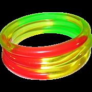 SALE Vintage 3 Lucite Bangles Translucent colors