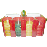 SALE ARt Deco Bakelite Chip Holder & Chips Multicolored