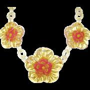 SALE Vintage Bakelite Apple Juice Reverse Carving Lucite Necklace