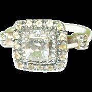 SALE Vintage Sterling Ring Faux Diamonds