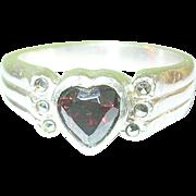 SALE Vintage Sterling Ring Garnet Marcasite