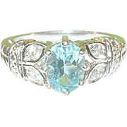 SALE Vintage Sterling Ring Blue Topaz White Crystals