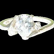 SALE Vintage Sterling Faux Diamond Ring