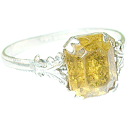 SALE Vintage Sterling Faux Yellow Diamond Ring