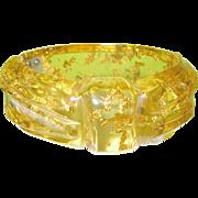 SALE Vintage Bakelite Apple Juice Gold Dust Carved Hinged Bangle Extremely Rare