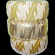 SALE Vintage Bakelite Clad Bangle Set 3 pcs