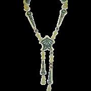 SALE Vintage Bakelite & Green Lucite Teardrop Necklace Art Deco (1930's)