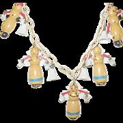 SALE Vintage Bakelite Plastic Martha Sleeper Dutch Figural Necklace