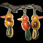 SALE Vintage Bakelite Martha Sleeper Brooch 3 Birds on a Branch