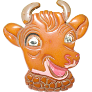 "SALE Vintage Large Bakelite Brooch ""Elsie the Cow"""