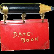 SALE Vintage Bakelite Pencil Date Book Brooch