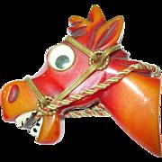 SALE Vintage Bakelite Googly Eye Horse Head Brooch Book Piece