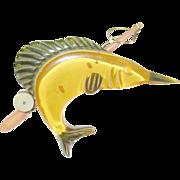 SALE Vintage Bakelite Apple Juice Swordfish & Fishing rod