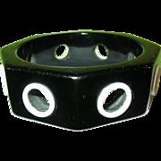 SALE Vintage Bakelite Porthole Bangle Black