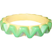 SALE Vintage Bakelite Bangle Raised ZigZag Pattern Yellow Green
