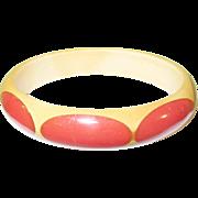 SALE Vintage Bakelite Bangle Belle Kogan Oval Red Dot