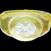 SALE Vintage Bakelite Hinged Bangle Apple Juice Lg Rhinestone