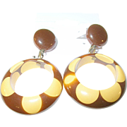 SALE Vintage Bakelite Drop Earrings Random Dot