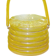 SALE Vintage Bakelite / Apple Juice Lucite Beehive Handbag by LLewellyn Lewisd Jewels Extremel