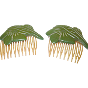 SALE Vintage Bakelite Hair Combs Pair