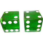 SALE Vintage Bakelite Large Dice Translucent Green