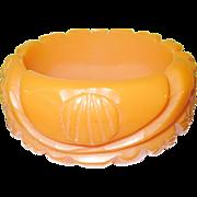 SALE Vintage Bakelite Wide Bangle Heavily Carved Orange