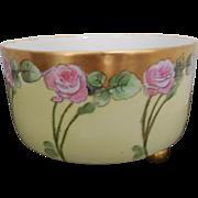 T & V (Tressemann & Vogt) Limoges France Porcelain Footed Bowl Artist Signed