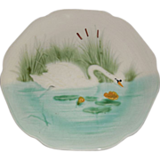 Antique French Majolica Choisy-Le-Roi Swan & Cattails Plate