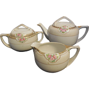 Floral Nippon Teapot, Creamer, Sugar Bowl