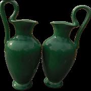 Rare Pair Rookwood  Green Ewers - 1928