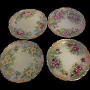 4 Limoges Haviland & Cie Hand Painted Artist Monogrammed Floral Bread & Butter Plates