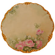 Jean Pouyat Limoges 1905-1915 Hand Painted & Gilded Tea Rose Plate