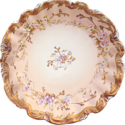 Antique Coiffe/Straus & Sons Limoges France Gilded Sculpted Rim Plate