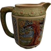 Rare Weller Lg. Zona Rustic Kingfisher in Tree Medallion Pitcher + Cattails