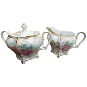 Scarce RS Prussia Schlegelmilch Footed Mild #647 Matched Creamer & Sugar Bowl
