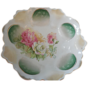 RS Prussia Wreath & Star Blown Out Mold #116 Triple Rose Porcelain Banded Bowl