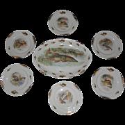 Rare Iroquois China 7 piece Fish Set-includes Platter + 6 plates