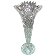 American Brilliant Cut Glass Crystal Trumpet Vase Prism Hobstar