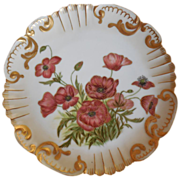 Bawo & Dotter Elite Hand Painted Limoges Cake Plate-Poppies