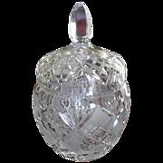 1930's American Brilliant Cut Crystal Glass Tobacco Jar