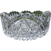 American Brilliant Hexagon Fan Cut Crystal Bowl