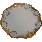 Beautiful Gold Trimmed Limoges C & J Hand Painted Porcelain Charger 14 inches