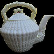 Rare Belleek Tridacna Yellow Shell Pattern Tea Pot