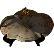 Limoges Guerin 3 Lobes Floral Tray 1900's