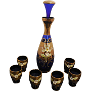 Vintage  Murano Cobalt Blue Glass Decanter w/ 6 Matching Cordial Glasses, made in Italy