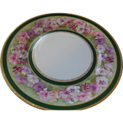 Jean Pouyat Limoges France Floral Plate 9 5/8 inches